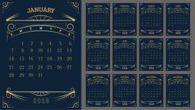 Vector van Kalender 2018 jaar, 12 maandkalender met Gouden Vintag Royalty-vrije Stock Afbeelding
