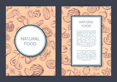 Vector van krabbel handdrawn vruchten en groenten veganist, gezonde voedselkaart, brochure, vliegermalplaatje royalty-vrije illustratie