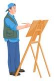 Vector van kunstenaar het schilderen op canvas Stock Afbeelding