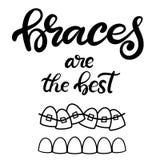 Vector van letters voorziende illustratie over orthodontische behandeling en tandgezondheidszorg met het beeld van steunen op tan royalty-vrije illustratie