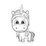 Vector van Leuk Unicorn Black en Wit EPS8 Royalty-vrije Stock Foto's