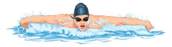 Vector van mens het zwemmen royalty-vrije illustratie
