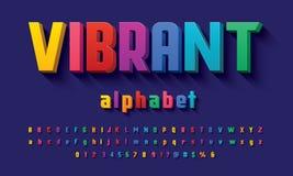 Vector van modern 3D gewaagd alfabetontwerp stock fotografie