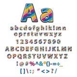 Vector van modern gestileerd kleurrijk doopvont en alfabet Stock Fotografie