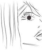 Vector van mooi vrouwelijk gezicht. Schets. Stock Foto's