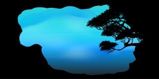 Vector van mooie boomwolk en hemelachtergrond Stock Afbeelding