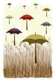 Vector van Paraplu met Gras Royalty-vrije Stock Afbeelding