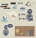 Vector van Pictogrammen met Tekstwolken en Grafieken Royalty-vrije Stock Foto