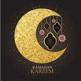 Vector van Ramadan Kareem met ingewikkeld lampontwerp Stock Foto