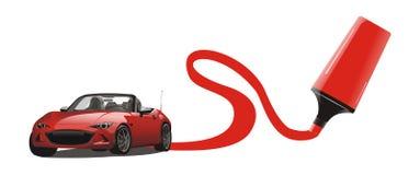 Vector van rode sportwagentekening Stock Afbeeldingen