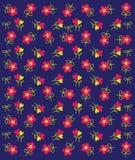 Vector van Roze Bloempatroon op Blauwe Achtergrond Royalty-vrije Stock Afbeeldingen