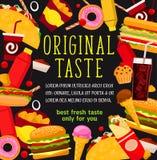 Vector van snel voedselmaaltijd en snacks menuaffiche Royalty-vrije Stock Foto