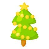 Vector van spar op wit wordt geïsoleerd dat De stijl van het beeldverhaal Leuk grappig Kerstmispictogram Illustratie Stock Foto's