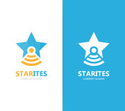 Vector van ster en flesembleemcombinatie Uniek leider en laboratorium logotype ontwerpmalplaatje Royalty-vrije Stock Afbeelding