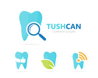 Vector van tand en loupe embleemcombinatie Tand en vergrootglassymbool of pictogram Unieke kliniek en onderzoek Stock Afbeelding