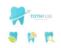 Vector van tand en vliegtuigembleemcombinatie Tand en reissymbool of pictogram Unieke kliniek en vlucht logotype Royalty-vrije Stock Afbeeldingen
