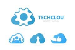 Vector van toestel en wolkenembleemcombinatie Werktuigkundige en opslagsymbool of pictogram Unieke fabriek en industriële logotyp Stock Afbeelding