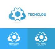 Vector van toestel en wolkenembleemcombinatie Werktuigkundige en opslagsymbool of pictogram Unieke fabriek en industriële logotyp Stock Foto's