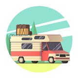 Vector van travelling to the road trip. In flat design Stock Photo