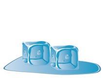 Vector van twee ijsblokjes Stock Fotografie