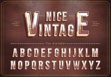 Vector van Uitstekend alfabet en gewaagde doopvont Exclusieve Uitstekende Brieventypografie stock illustratie
