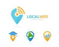 Vector van van kaartwijzer en wifi embleemcombinatie GPS-merkteken en signaalsymbool of pictogram Unieke speld en radio, Internet Stock Fotografie