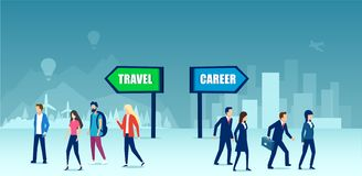 Vector van verdeelde groep die mensen een van de carrièrekeus of vrije tijd reistijd maakt vector illustratie
