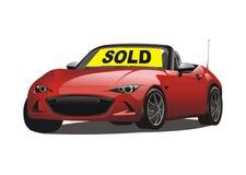 Vector van verkochte convertibele rode sportwagen Stock Foto