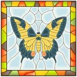 Vector van vlinder in stained-glass venster. Royalty-vrije Stock Afbeelding