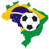 Vector van voetbalbal met kaart en vlag van Brazilië stock afbeelding