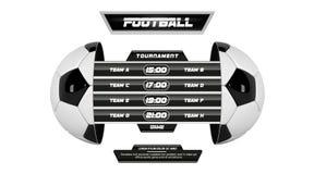 Vector van voetballiga met de teamconcurrentie en scorebord op witte achtergrond wordt geïsoleerd die Voetbal Witte Banner met 3d royalty-vrije illustratie