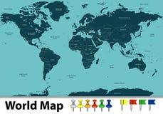 Vector van Wereldkaart Royalty-vrije Stock Foto