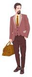 Vector van zakenman met bagage Stock Afbeeldingen