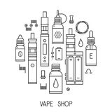 Vector Vape icons in thin line Royalty Free Stock Images