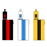 Vector - Vaporizers in three colors. Vector flat icons of electronic cigarettes in three colors Royalty Free Stock Photos