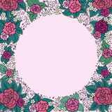 Vector varicolored floral round ornamental frame Stock Image