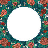 Vector varicolored floral round ornamental frame Stock Images