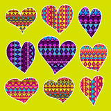 Vector varicolored hearts set with pattern. Royalty Free Stock Photography