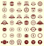 Vector Variety Designs Retro Vintage Badges. Vector Variety Design Maroon Retro Vintage Badges Isolated on White Background Stock Illustration