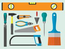 Vector various color flat design house repair instruments equipment icons construction house tools. Stock Photography