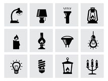 Vector various lighting icons of lamps on white Royalty Free Stock Photo