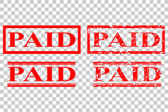 Various style of rubber stamp paid at transparent effect background. Vector various style of rubber stamp paid at transparent effect background stock illustration