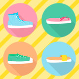 Vector various types of summer shoes. Flat Stock Image
