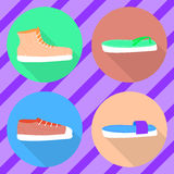 Vector various types of summer shoes. Flat2 Stock Photos