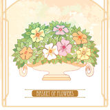 Vector vase with bouquet of flower and leaves in Art Nouveau or Modern style in pastel on the beige background with frame. Stock Photos