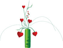 Vector vase with flowers. Heart Royalty Free Stock Image