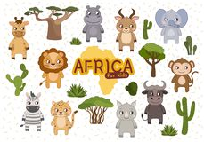 vector Vastgesteld Afrika stock illustratie