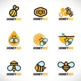 Vector vastgesteld de kunstontwerp van het honingbijembleem Stock Afbeeldingen