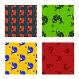 Vector vastgesteld patroon van vissen bassilhouet in verschillende kleuren Royalty-vrije Stock Foto's