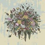 Vector vastgestelde bloemen in krabbelstijl Stock Foto's